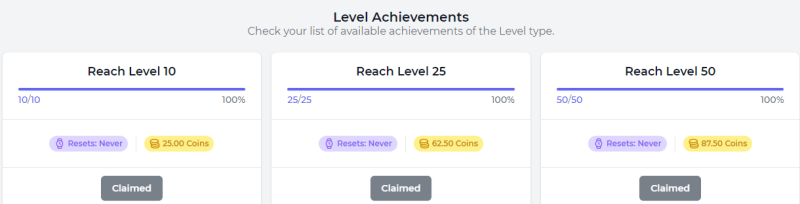 Level Achievements at FaucetCrypto.com