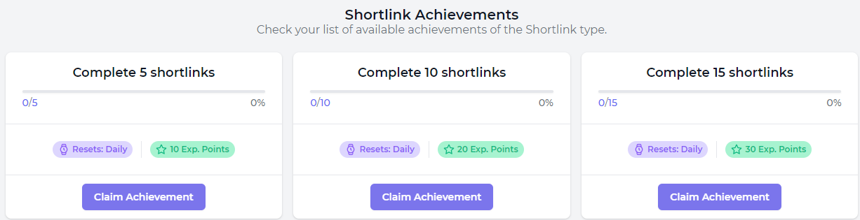 Shortlink achievements at FaucetCrypto.com